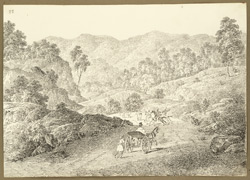 Another view of the road through the rocky Chittru Pass between Gumia and Chittru Chatta (Bihar); an Englishman in carriage with attendants in foreground. 11 February 1823